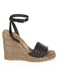 cad986e6fe460 QUICK VIEW. Brunello Cucinelli. Leather Ankle-Strap Wedge Espadrilles