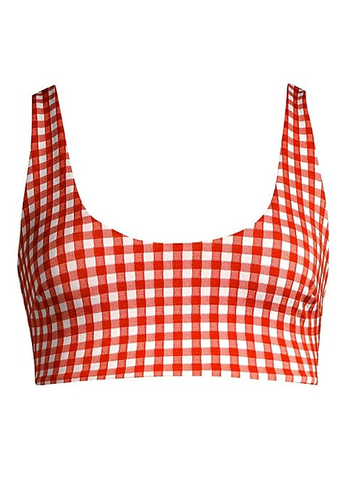 """Image of Checked bikini top in scoopneck silhouette. Scoopneck. Pullover style. REPREVE? polyester/spandex/nylon. Hand wash. Made in USA. SIZE & FIT. Model shown is 5'10"""" (177cm) wearing a size Small. Please note: Bikini bottom sold separately."""