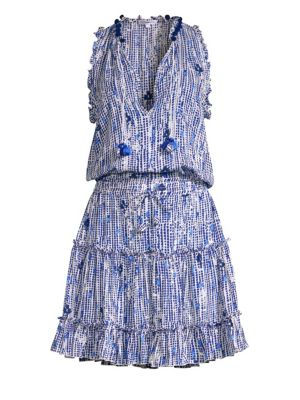 POUPETTE ST BARTH Clara Ruffled Print Mini Dress in Blue Fanicful
