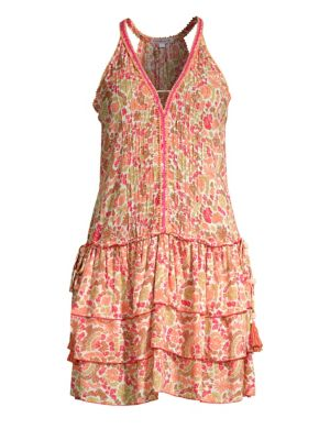 Poupette St Barth Bety Ruffled Floral Halter Mini Dress