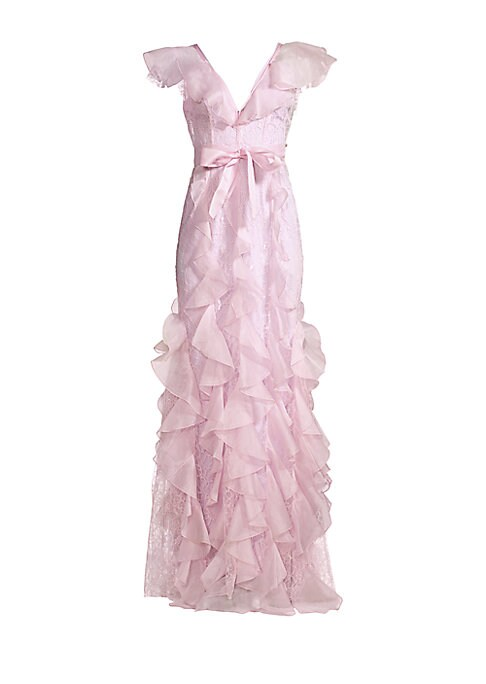 """Image of Beautiful full-length ruffle gown with self-tie waist and ruffle cap sleeves.V-neck. Ruffle cap sleeves. Concealed back zip closure. Ribbon belted waist. Ruffle skirt. Nylon/rayon/silk. Dry clean. Imported. SIZE & FIT. About 65"""" from shoulder to hem. Mode"""