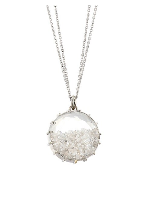"""Image of A brilliant array of diamonds set in a clear circular pendant on a delicate 18K white gold chain. Diamond, 2.56 tcw.18K white gold. Made in USA. SIZE. Chain length, 18"""".Pendant diameter, 0.75""""."""