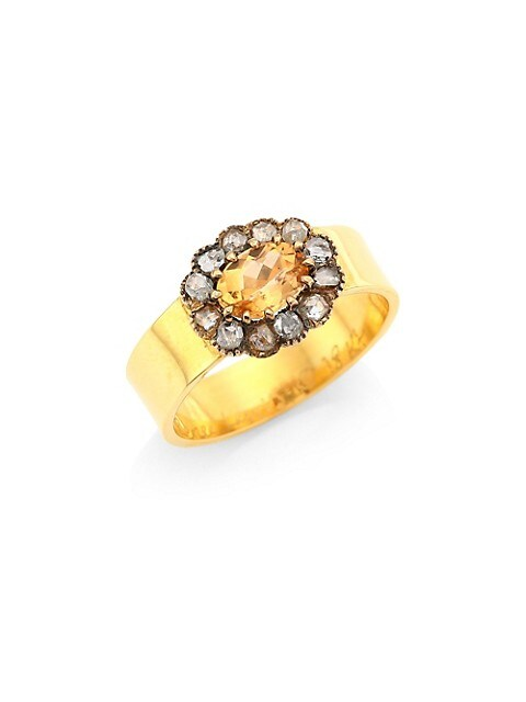 Pink Sapphire & Antique Diamond 18K Gold Ring