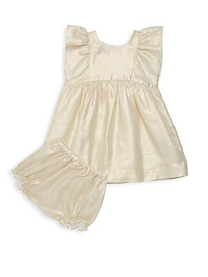 Image of Beautiful gold dress for baby, cut in effortless linen. Scoopneck Flutter sleeves Button back Seamed waist A-line skirt Includes matching bloomers Linen Dry clean Imported. Children's Wear - Designer Children. Bonpoint. Color: Gold. Size: 12 Months.