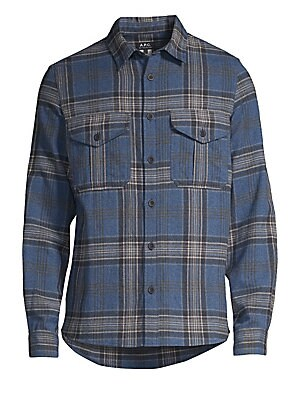 Image of A classic plaid patterns this oversize button-down crafted from a light and warm wool-blend. Point collar Long sleeves Buttoned barrel cuffs Button front Chest buttoned flap pockets Shirttail hem Cotton/wool/nylon Dry clean Imported of Italian fabric SIZE