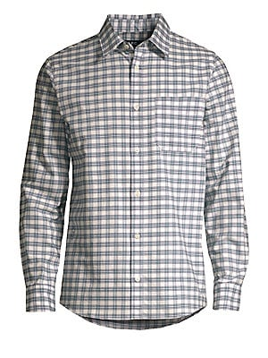 """Image of A crisp plaid patterns this oversize button-down for a timeless look. Point collar Long sleeves Buttoned barrel cuffs Button front Chest patch pocket Shirttail hem Cotton Dry clean Imported of Italian fabric SIZE & FIT Oversize fit About 28"""" from shoulder"""