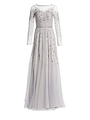 5f0dbde7 Theia - Embellished Tulle Gown