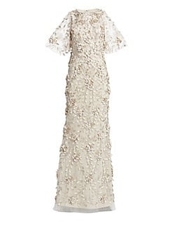 33defc43 QUICK VIEW. Theia. Embellished Flutter-Sleeve Tulle Gown