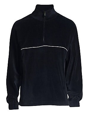 Image of Allover ribbed finish with contrast piping highlights this luxe velour sportswear crafted in soft organic cotton. Stand collar Half Zip placket Long sleeves Side pockets Adjustable elasticized trim Ribbed finish Organic cotton Dry clean Made in Portugal S
