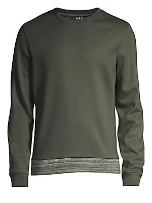 """Image of A contrast mélange waistband anchors this lightweight cotton crewneck sweatshirt. Crewneck Long sleeves Ribbed cuffs and hem Pullover style Cotton Dry clean Imported SIZE & FIT About 28"""" from shoulder to hem. Men Adv Contemp - Trend Collections. A.P.C. Co"""
