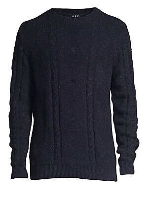 """Image of A jacquard of two heathered yarns lends a rustic aspect to this sweater, while diamonds and braided cables add texture. Crewneck Long sleeves Ribbed cuffs and hem Pullover style Wool/cotton/nylon Dry clean Imported SIZE & FIT About 28"""" from shoulder to he"""