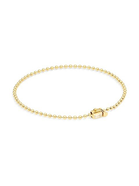 Flapper 18K Yellow Gold & Diamond Single Strand Ball Chain Bracelet