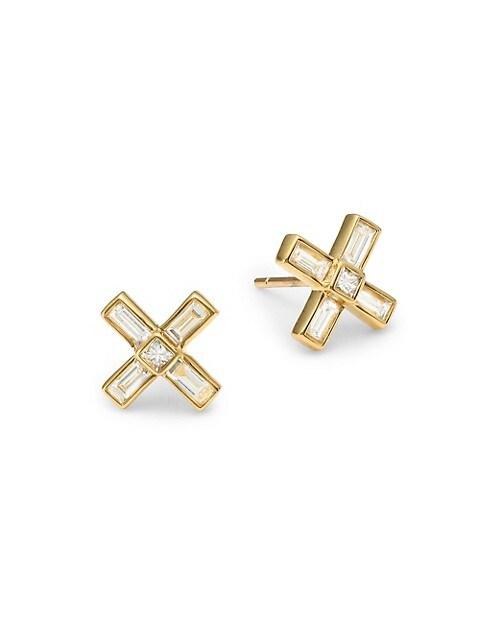 Flapper Deco X 18K Yellow Gold & Diamond Stud Earrings