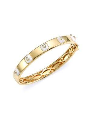 MARIA CANALE Pyramide 18K Yellow Gold, Diamond & White Agate Stackable Hinged Bangle