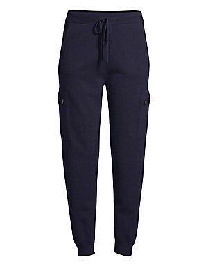Image of ONLY AT SAKS. Jogger pant updated in luxurious cashmere with metallic chain striping at hips. Sporty drawstring waist and side zip cargo pants keeps the look on-trend with a chic, comfort silhouette. Banded drawstring waist Pull-on style Side slip pockets