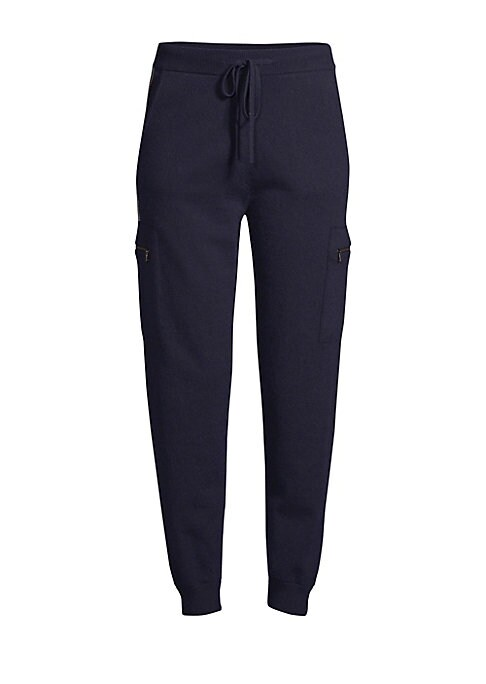 Image of EXCLUSIVELY AT SAKS FIFTH AVENUE. Jogger pant updated in luxurious cashmere with metallic chain striping at hips. Sporty drawstring waist and side zip cargo pants keeps the look on-trend with a chic, comfort silhouette. Banded drawstring waist. Pull-on st