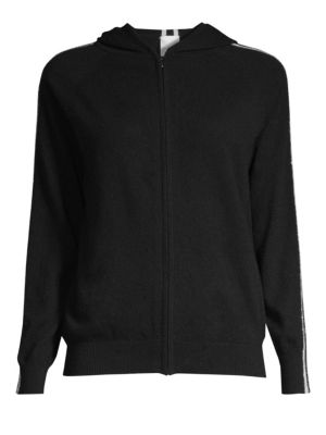 TSE X SFA Cashmere Chain Stripe Hooded Track Jacket in Black