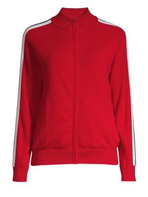 TSE X SFA Cashmere Striped Sleeve Bomber Jacket in Red