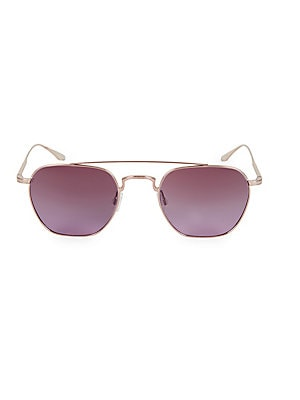 Image of Classic silhouette with double top bar, gradient tinted lenses and filigree engraving. 100% UV protection Gradient tint mineral glass lenses with anti-reflective coating Lens replacement optional Cloth and case included Titanium Made in Japan SIZE 52mm le