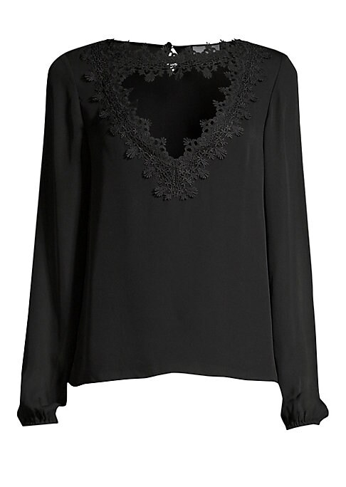 """Image of A triangular cutout at the neckline is framed with intricate silk lace for a dramatic silhouette. Roundneck with cutout. Long sleeves. Elasticized cuffs. Back keyhole button closure. Silk. Dry clean. Imported. SIZE & FIT. About 24"""" from shoulder to hem. M"""