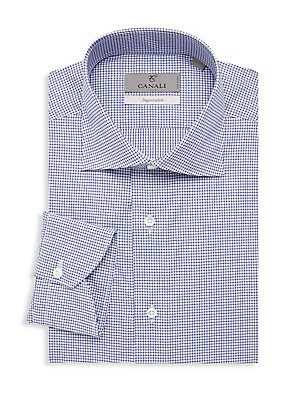 """Image of A classic check design adds sophisticated appeal to this modern-fit cotton dress shirt. Point collar Long sleeves Button front Button barrel cuffs Cotton Machine wash Made in Italy SIZE & FIT Modern fit About 29"""" from shoulder to hem. Men Luxury Coll - Ca"""