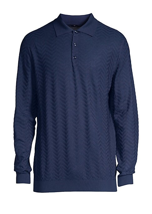"Image of Understated jacquard print lends luxury to polo. Polo collar. Long sleeves. Rib-knit cuffs and hem. Three-button placket. Wool. Dry clean. Made in Italy. SIZE & FIT. About 25.59"" from shoulder to hem."