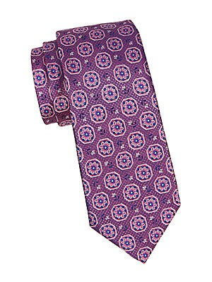 """Image of A lovely floral medallion motif adds interest to this silk tie. Silk Dry clean Made in Italy SIZE Width, about 3"""". Men Luxury Coll - Canali Clothing > Saks Fifth Avenue. Canali. Color: Pink."""