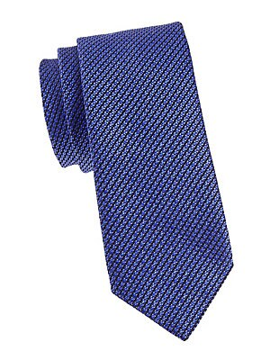 "Image of Elegant tie crafted in Italian silk. Silk Dry clean Made in Italy SIZE Width, about 3"". Men Luxury Coll - Canali Clothing > Saks Fifth Avenue. Canali. Color: Blue."