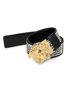 fc0485c7c46 Versace. Medusa Reversible Printed Leather Belt