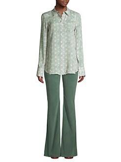 7c01db2d024d12 Lafayette 148 New York. Scottie Leaf-Print Silk-Blend Blouse