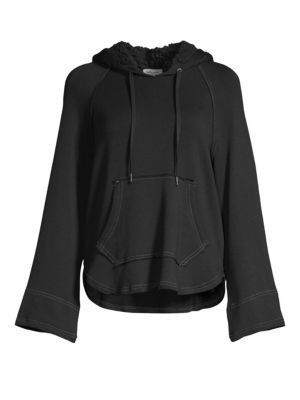 Faux Sherpa-Lined Flared Sleeve Hoodie in Black