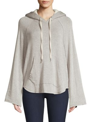 Faux Sherpa-Lined Flared Sleeve Hoodie in Heather Grey