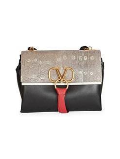41024e1a0483 Valentino Garavani. Vee Ring Medium Leather Shoulder Bag