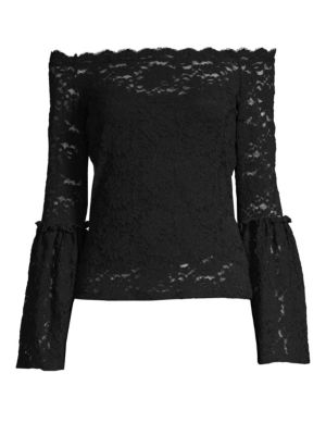 RED HAUTE Off-The-Shoulder Lace Top in Black