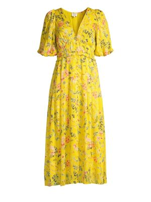 HEMANT & NANDITA Puff Sleeve Floral Midi Dress in Yellow