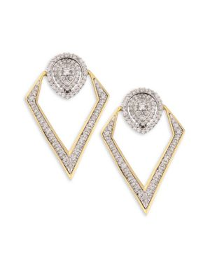 PLEVÉ Pirouette 18K Yellow Gold & Diamond Pear-Shaped Convertible Earrings