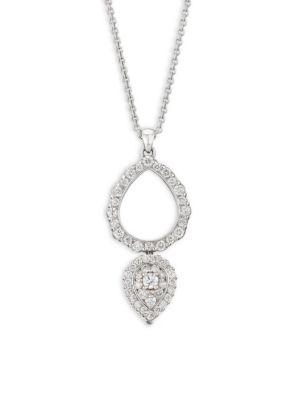 PLEVÉ 18K White Gold & Diamonds Double Drop Pendant Necklace