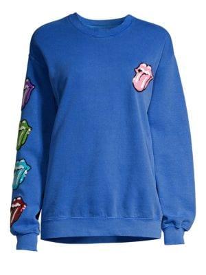 Madeworn Rolling Stones Sequin Tongues Crewneck Sweatshirt