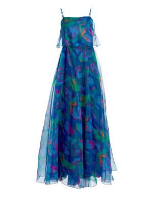 Emporio Armani Silks Silk Organza Sleeveless Printed Dress