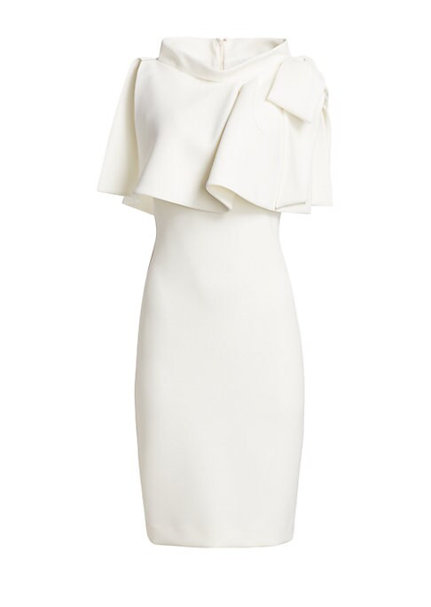 """Image of Capelet-style popover and oversized bow create a dramatic-yet-elegant dress silhouette. Highneck. Cape sleeves. Concealed back zip. Lined. Polyester/spandex. Dry clean. Imported. SIZE & FIT. About 42"""" from shoulder to hem. Model shown is 5'10"""" (177cm) wea"""