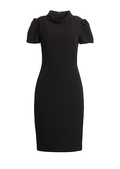 """Image of Crepe sheath dress updated with rolled collar and puffed sleeves. Highneck. Short sleeves. Concealed back zip. Lined. Polyester/spandex. Dry clean. Imported. SIZE & FIT. About 43"""" from shoulder to hem. Model shown is 5'10"""" (177cm) wearing US size 4."""