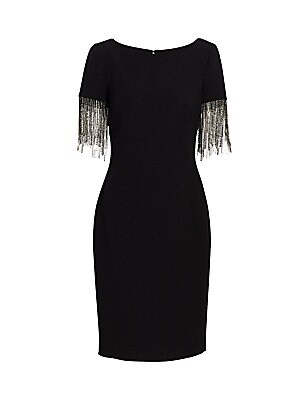 Crystal Fringe Sleeve Sheath Dress by Badgley Mischka
