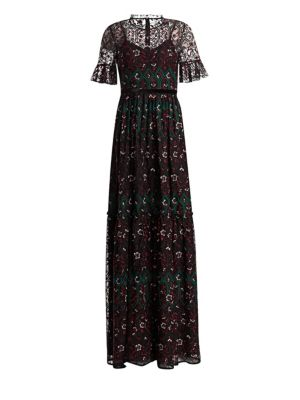bf08e8e25f6 ML MONIQUE LHUILLIER. SHORT SLEEVE EMBROIDERED GOWN