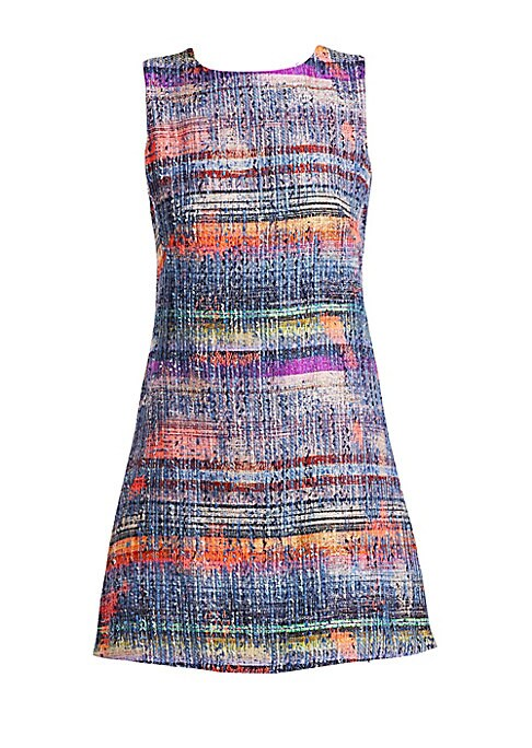 Image of A tweed shift dress epitomizes feminine elegance; Emporio Armani - true to its vision - invigorates this classic silhouette by selecting an Impressionistic color palette. The slightly abbreviated hem heightens this piece's youthful appeal. Roundneck. Slee