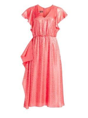 6b96ccfb Animal Print Short Sleeve Jacquard Dress in Tramonto