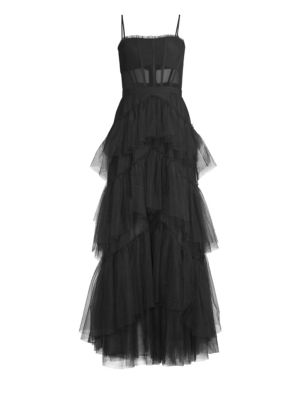 Layered Tulle & Mesh Sleeveless Corset Gown by Bcbgmaxazria