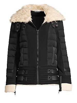 Image of Bold faux-fur sherpa collar accentuates contrasting patent patches on this puffer coat. Spread collar Long sleeves Rolled cuffs Zip front with snap-button tabs Waist welt pockets Faux-fur trim Fully lined Polyester/nylon/polyurethane Fill: 80% down/20% fe
