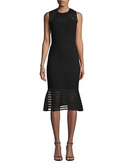 9886335de60 Elie Tahari. Paris Sheer-Striped Fit- -Flare Cocktail Dress