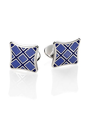 """Image of A brilliant plaid design is crafted in enamel and luminous sterling silver. Enamel/Sterling Silver 0.6""""W X 0.6""""H Made in USA. Men Accessories - Jewelry > Saks Fifth Avenue. David Donahue. Color: Blue."""