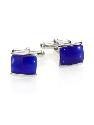 Blue Tiger's Eye & Sterling Silver Cuff Links